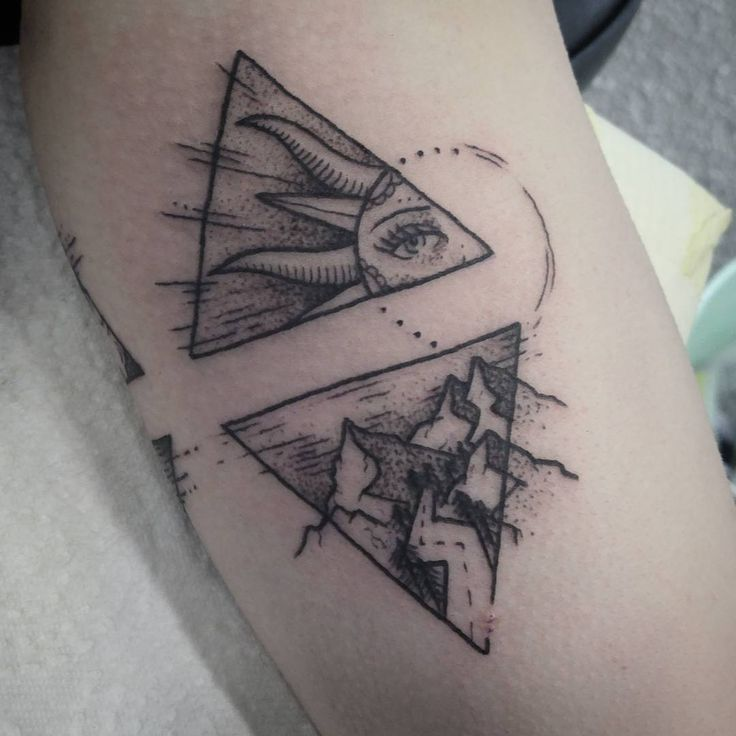 Dot Work Triangle Sun Tattoo With Mountains