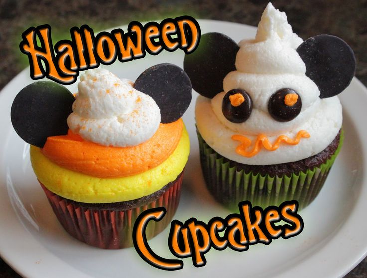 The Disney Diner: Disney Halloween Cupcakes: Candy Corn and Mickey Mouse Ghost