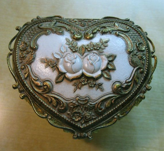 Vintage Jewelry Box Metal Heart with Roses