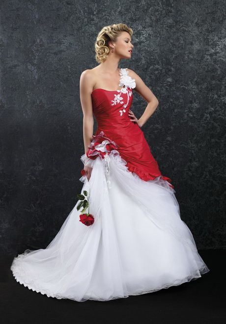 Robe mariee rouge et blanche