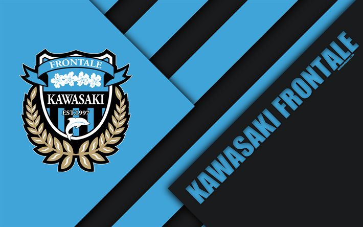Download wallpapers Kawasaki Frontale FC, 4k, material design, Japanese football club, black and blue abstraction, logo, Kawasaki, Kanagawa, Japan, J1 League, Japan Professional Football League, J-League
