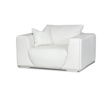 modern silver finish stainless steel base white leather chair