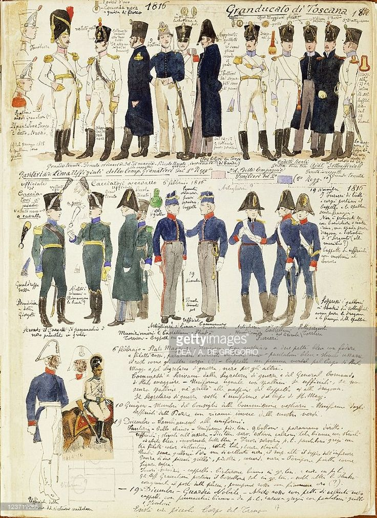 Foto stock : Various uniforms of Grand Duchy of Tuscany by Quinto Cenni, color plate, 1816