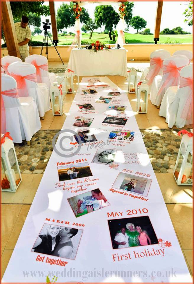 You can feature your love story on your aisle runner in pictures too - we love these ones personalised with pictures from Wedding Aisle Runners.