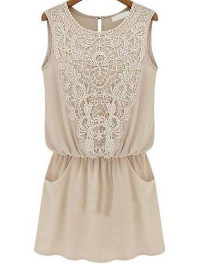 Apricot Sleeveless Lace Slim Chiffon Dress $19.33