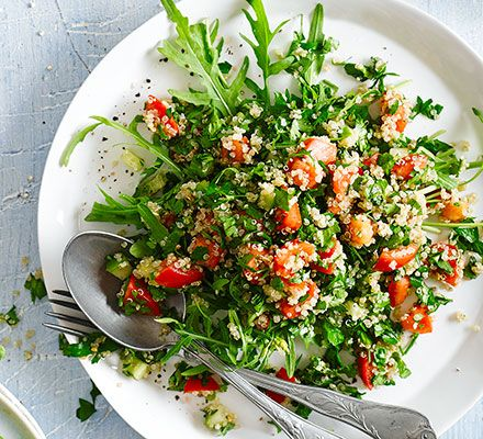 Quinoa tabbouleh: Enjoy this nutrient-packed salad, with juicy tomatoes and cucumber, as a delicious and healthy lunch