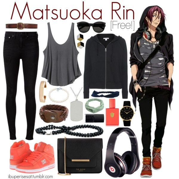 Matsuoka Rin [Free!] by anggieputeri on Polyvore featuring James Perse, RVCA, rag & bone, DC Shoes, Ted Baker, Angela Cummings, Larsson & Jennings, Tiffany & Co., Kenneth Jay Lane and HTC