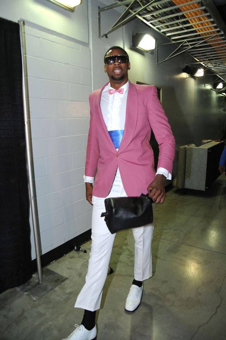 DeAndre Jordan, bow tie, purple blazer, shades, LA Clippers