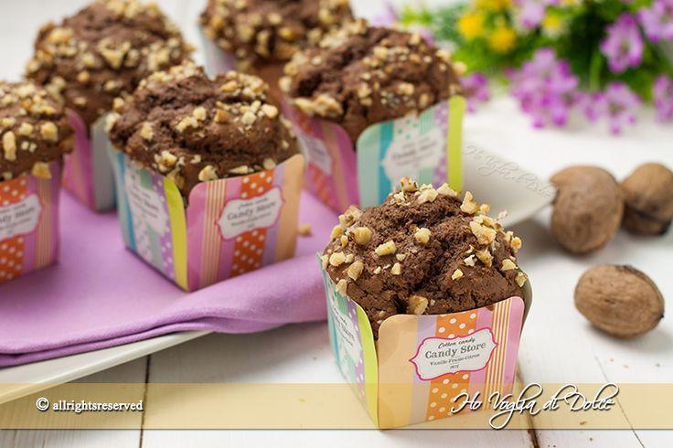 Muffin alla ricotta, cioccolato e noci