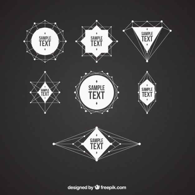 Pack of geometrical shapes badges Free Vector