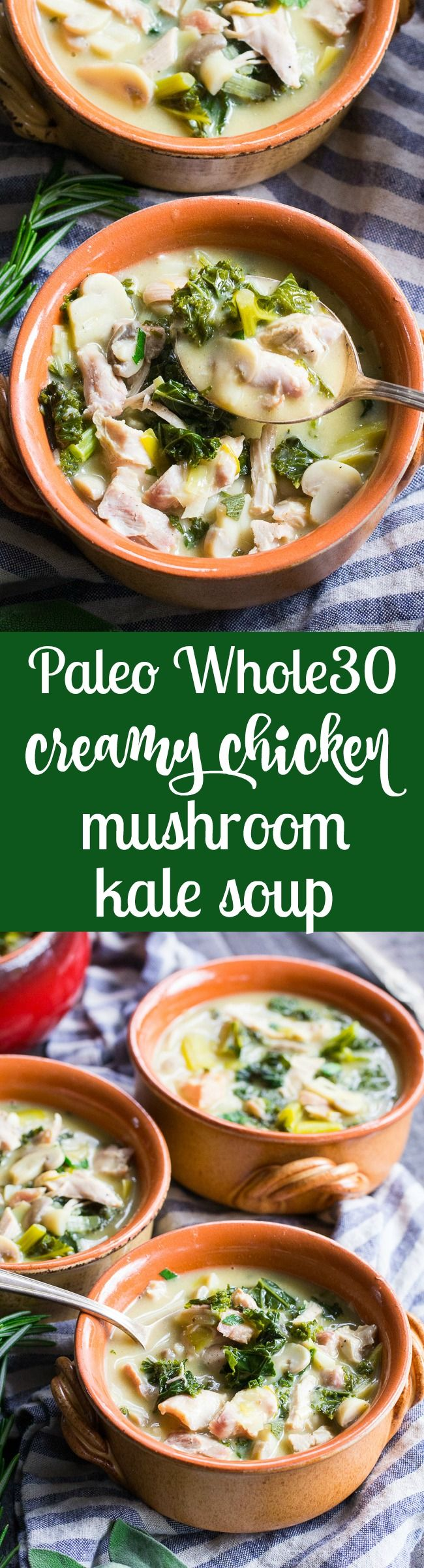 This Creamy Paleo Chicken Soup is cozy, comforting, and loaded with veggies and flavor! Mushrooms, garlic, leeks, kale and chicken in a creamy dairy free, paleo, and Whole30 soup that's filling and healthy. Quick and easy to make for weeknight dinners, too!