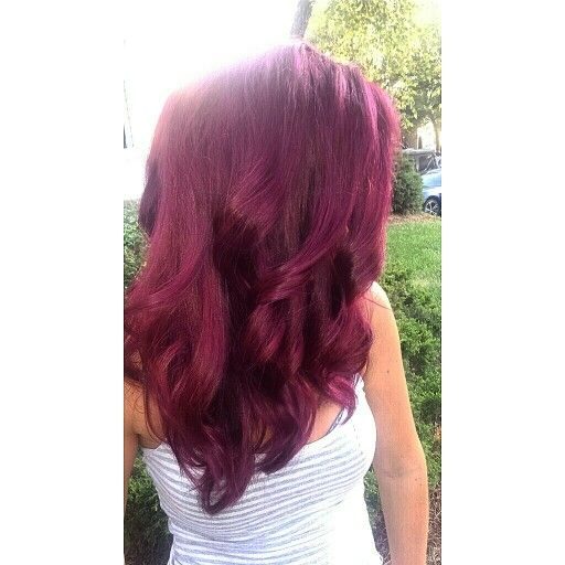 Pravana vivids wild orchid, red and a touch of violet. Hair color by Madison Kennington. Violet red, red hair, magenta hair