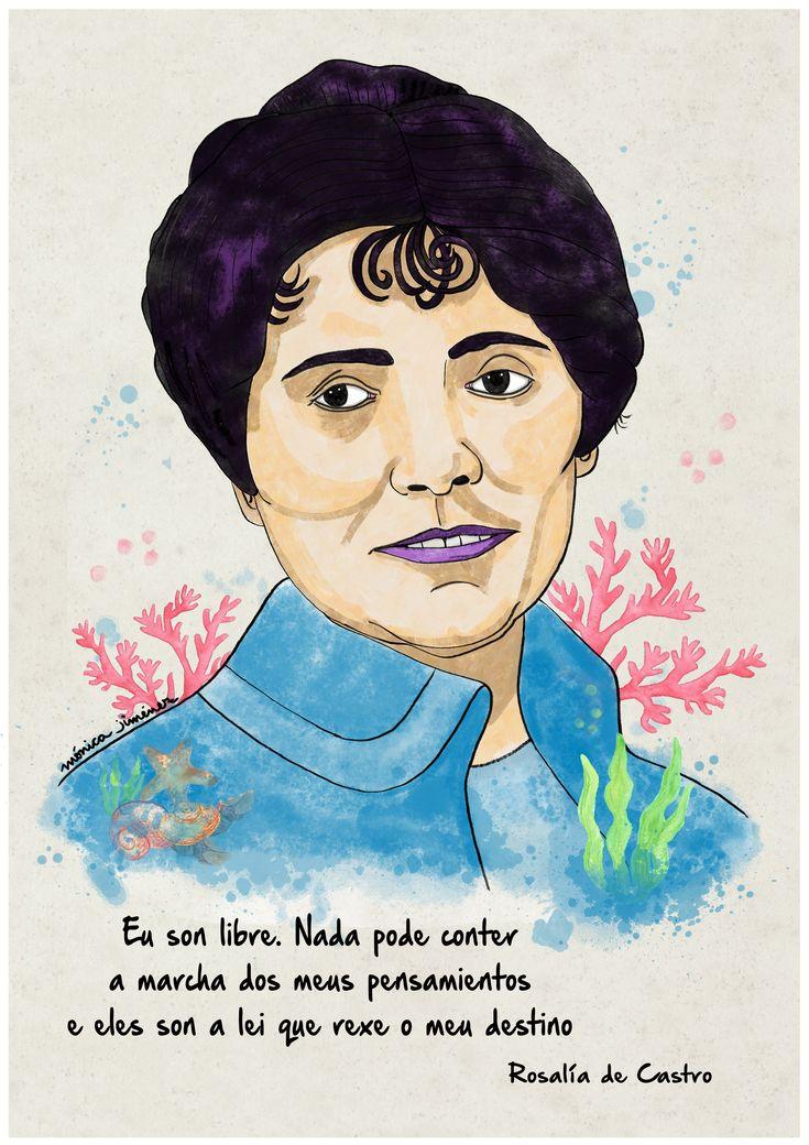Ilustración digital Rosalía de Castro Mónica Jiménez