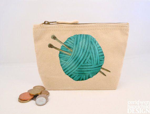 Wool Canvas Zip Purse Makeup Bag Coin Purse by ceridwenDESIGN