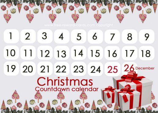Christmas countdown calendar, Countdown calendar Christmas. All these really nice countdown calendars are free printable via www.free-reward-cards.com.