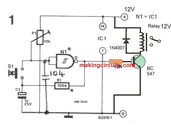 Push-Button ON/OFF Switch using Schmitt Trigger