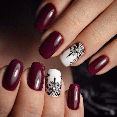 Accurate nails, Black and white nail polish, Black pattern nails, Dark cherry nails, Evening nails, Nail designs, Nailswith black pattern, Rich nails