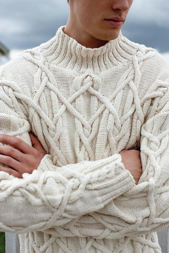 pull irlandais, pull tricoté blanc, jolies croisades
