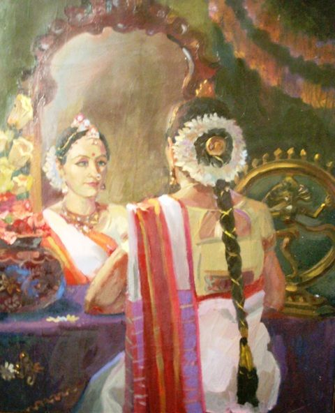 Love the reflection in this painting! Tamil woman