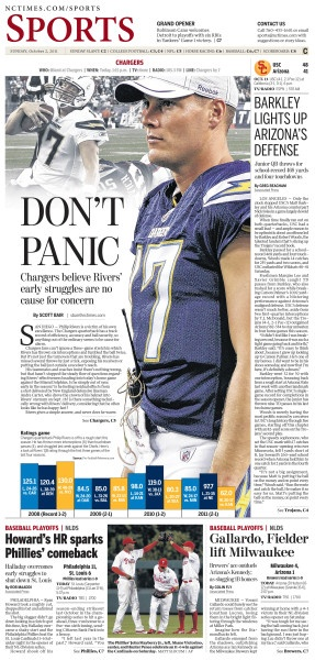 Don't Panic, featuring Phillip Rivers, #Newspaper #Design #GraphicDesign
