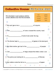 Collective Noun Worksheets - Fill in the Blank
