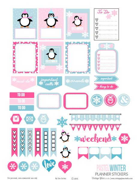 Free Printable Pastel Winter Planner Stickers | Vintage Glam Studio