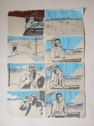 Oliver East - Paris, Texas, shots 33-40 (Walt travels to meet Doctor Ulmer): Meet Doctor, Doctor Ulmer, Illustration Nation, 2D Drawings, Painting, Walt Travels