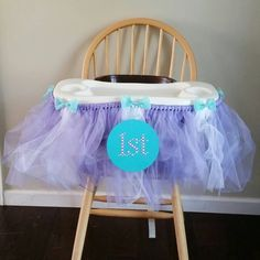 Purple and Teal First Birthday Highchair Tutu; Cake Smashing by CreateInspireDesigns on Etsy
