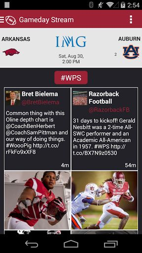 The all-new official Arkansas Razorbacks Gameday application is a must-have for fans headed to campus or following the Razorbacks from afar.  With FREE LIVE AUDIO, interactive social media, and all the scores and stats surrounding the game, the Arkansas Razorbacks Gameday application is a must-have.   Features Include:   +  LIVE GAME AUDIO - Listen to free live audio for all football and men's basketball games   +  GAMEDAY IMAGES - Get and contribute to real-time Instagram ...