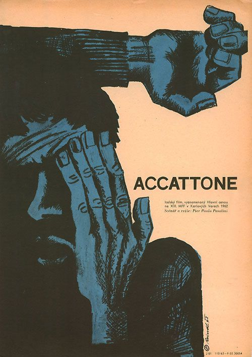 1963 Czech poster for ACCATTONE (Pier Paolo Pasolini, Italy, 1961) Artist: Milos Reindl