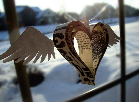 Heart with wings made by PaperPolaroid very unique!! $6.00Old Book, Angels Heart, Fly Heart, Paper Heart, Heart Art, Heart Wings, Wings Heart, Paper Wings, Angels Wings