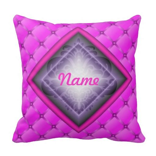 Pink Puffy Diamond Pillow, add your own name! This pillow looks like it has ribbons and buttons which create a puffy look. The diamond inside has a damask pattern underneath the shine.