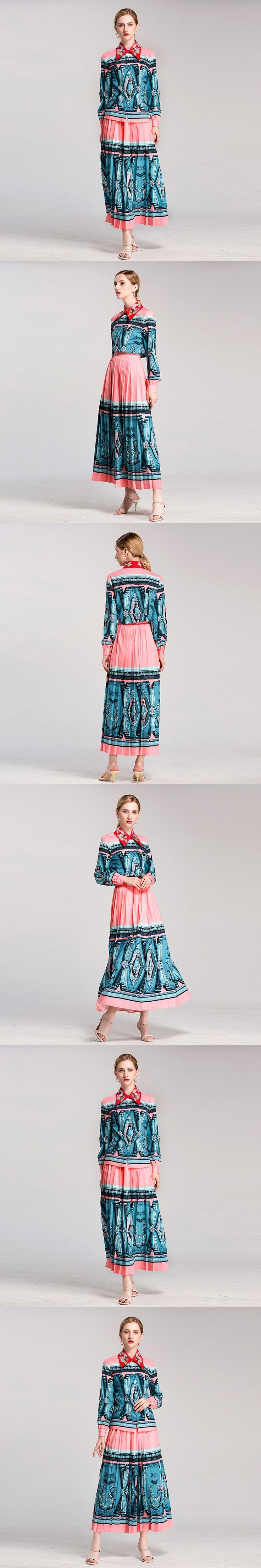 High Quality Fashion Designer Runway Two-Pieces Set Women's Long Sleeve Printed Embroidery Blouse + Pleated Skirt Suit Sets