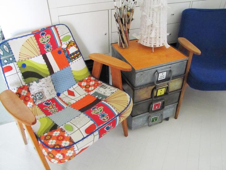 vintage patchwork armchair, Chierowski model 366, industrial furniture