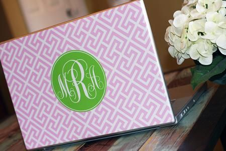 A bright monogramed laptop skin to make my computer stand out on campus!