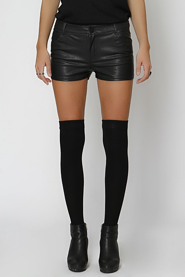 Leather look hot shorts