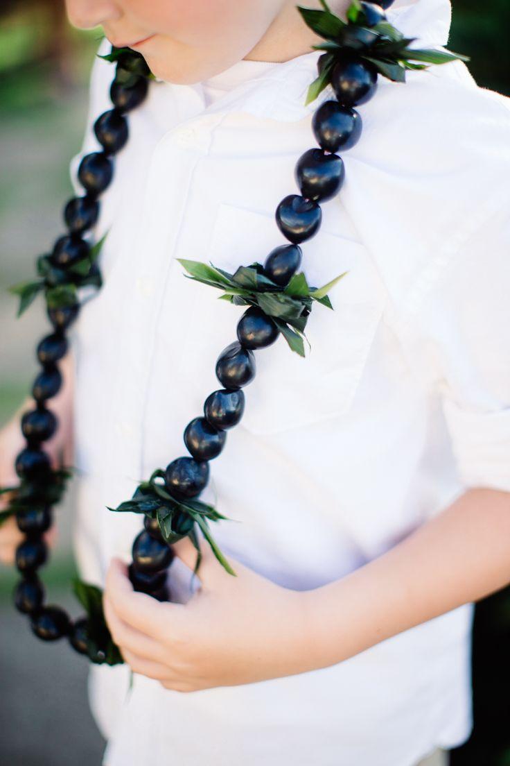Kukui nut lei with ti leaf
