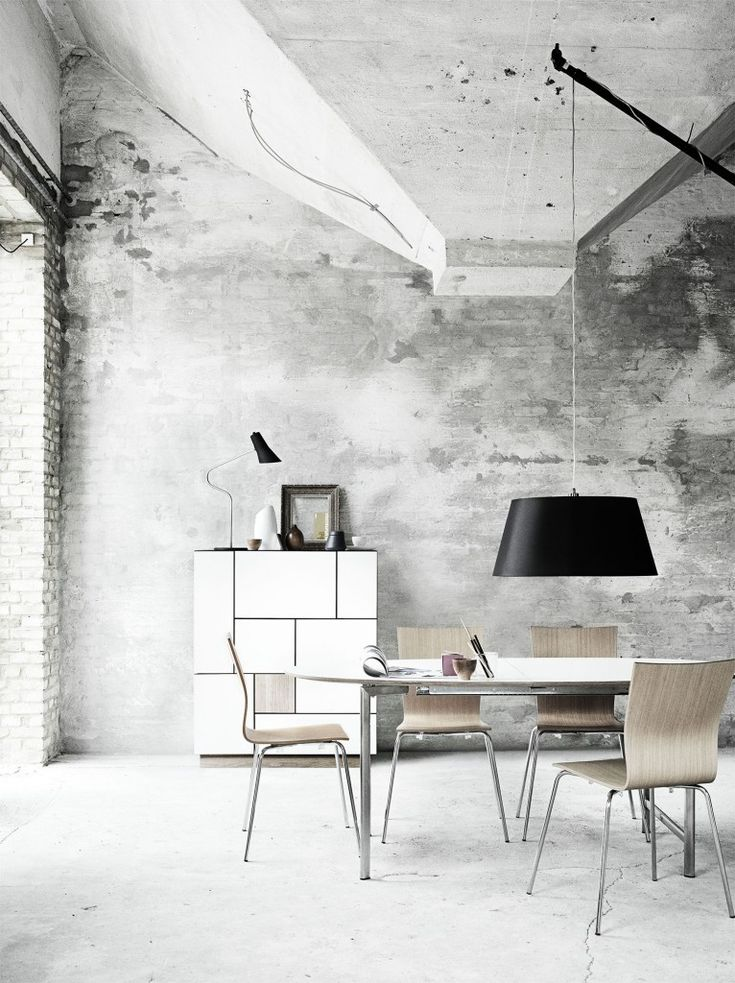 obsessively love the white drawers grey walls dining table and chairs lighting white flooring