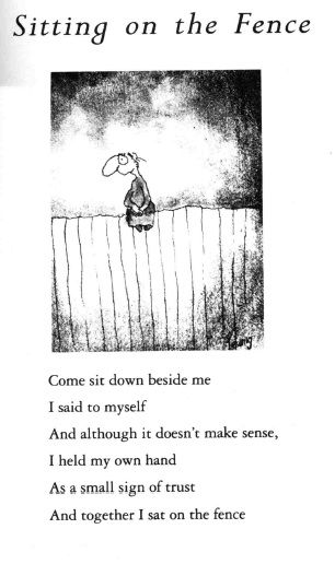sitting on the fence by Michael Leunig