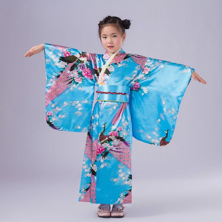 Light Blue Traditional Japanese Baby Girl Kimono Kid Yukata Child Stage Dance Costumes Evening Dress Quimono One Size L3K02A