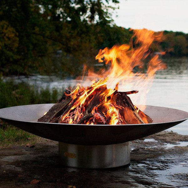 Stainless Steel Fire Pit by Firepit Art ($2,795) ❤ liked on Polyvore featuring home, outdoors, frontgate, fire bowl, fire pit, stainless steel fire pit and stainless steel fire bowl