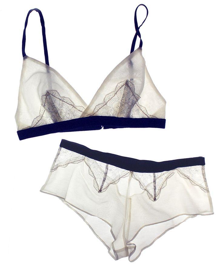 Between the Sheets Arabesque Cotton Silk/Lace Bralette & Ouvert Tap Pant