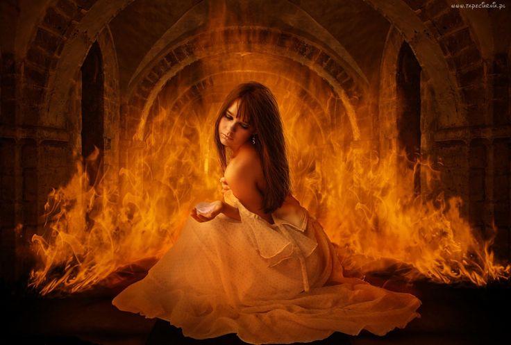 Dziewczyna, Piórko, Ogień