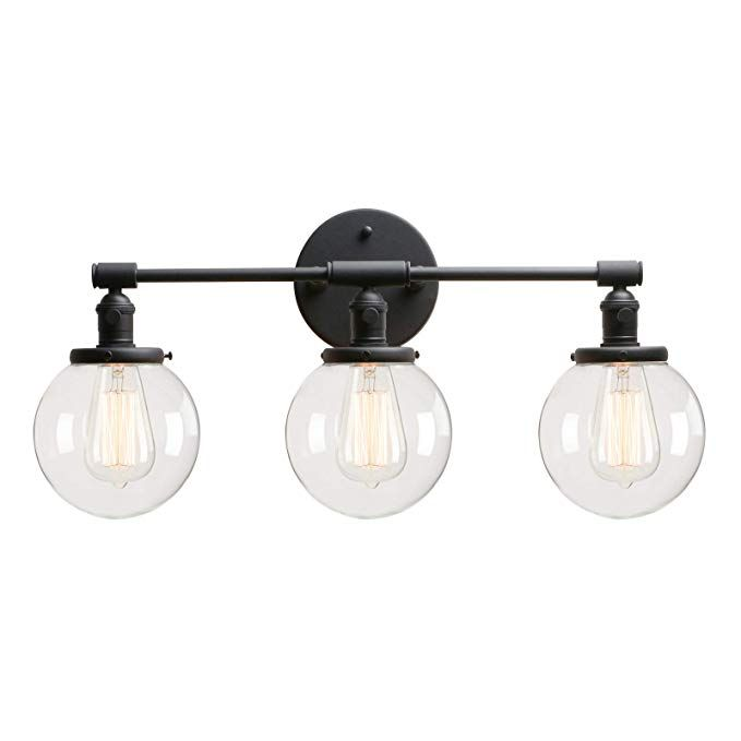 Permo Vintage Industrial Antique Three Light Wall Sconces With Mini 5 9 Round Clear Glass Globe Shade Wall Sconce Lighting Wall Lights Sconce Light Fixtures