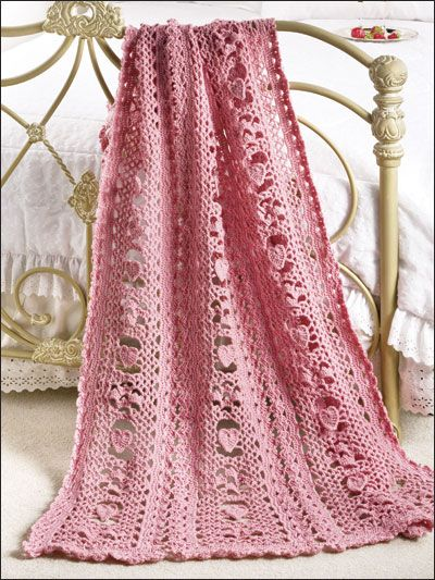 """Queen of Hearts Afghan Crochet Pattern Download from e-PatternsCentral.com -- Sweet hearts and an open work pattern make a one-of-a-kind """"I love you"""" gift for someone special."""
