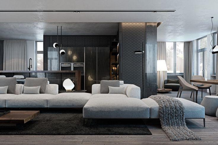Laminat in Grau und Wandverkleidung mit Metall-Struktur im modernen Wohnzimmer