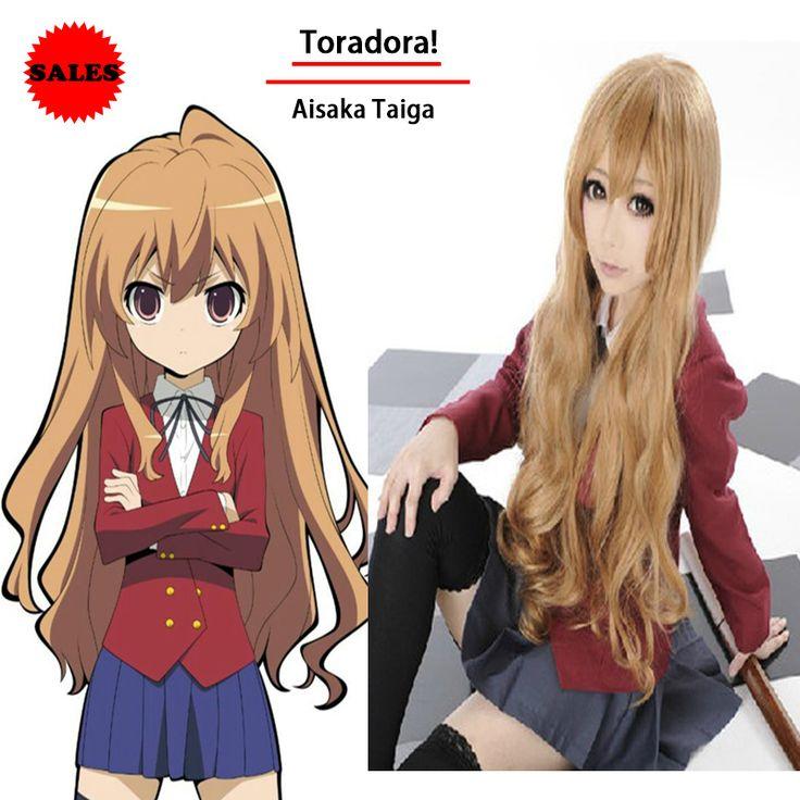Fashion Toradora Taiga Aisaka Cosplay Wigs Blonde Long Curly Wavy Lolita Wigs Perruque Synthetic Women Pelucas Cosplay Perucas
