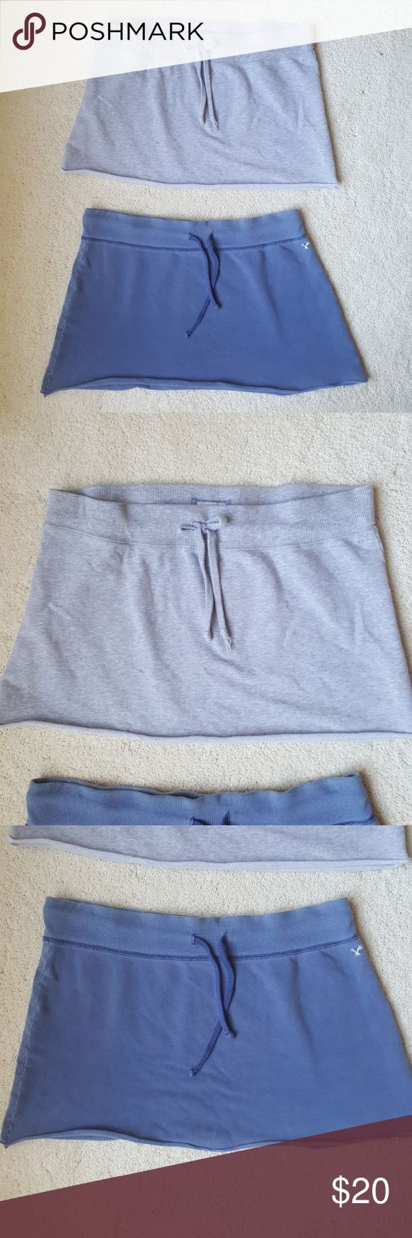 AEO • 2-for-1 lounge athleisure skirts size S / drawstring waists / comfy cotton / wear lounging around at home, studying or reading your iPad, playing tennis, to bed, anywhere!  from smoke and pet free home American Eagle Outfitters Skirts