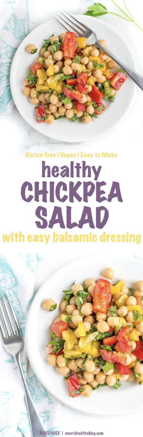 Healthy Chickpea Salad with Easy Balsamic Dressing | This healthy salad recipe makes for a quick and easy vegan and gluten free lunch packed with fresh veggies, lots of healthy fats and protein!