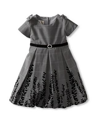 Laura Ashley Girl's Plaid Dress with Velvet Trim (Plaid)